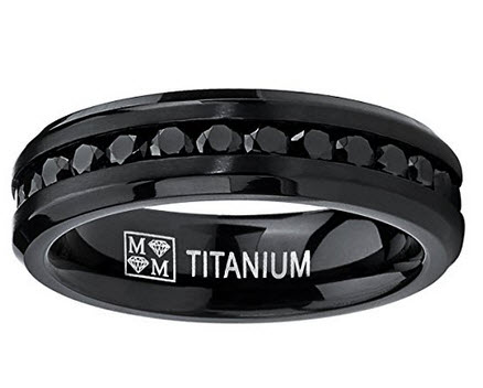 Metal Masters Titanium Womens Black Eternity Wedding Band with Black Cubic Zirconia 6MM