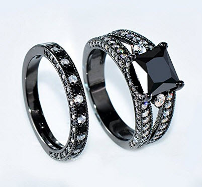 Bamos Jewelry Girls Black Square Diamond And Sapphire in Side Zircon Black Gold Double Rings 5-10