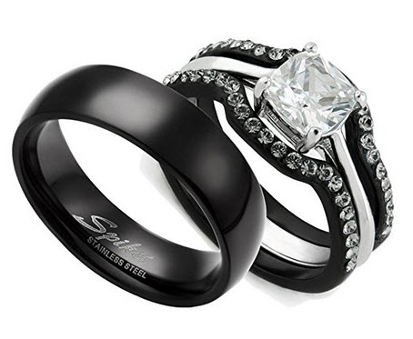 Marimor Jewelry HIS & HERS 4PC BLACK STAINLESS STEEL WEDDING ENGAGEMENT RING & CLASSIC Band SET