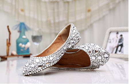 Minitoo MZLL030 Women's Fashion Comfortable Handmade Satin Wedding Party Evening Prom Flats