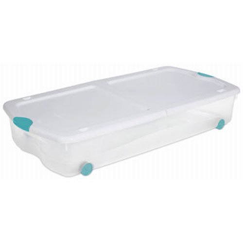 Sterilite 18958004 67-Quart See-Through Wheeled Underbed Latch Box with White Lid and Peacock Latches