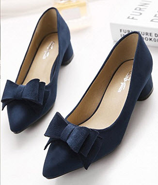 Summerwhisper Women's Bowknot Pointed Toe Low Heel Dress Pumps Shoes