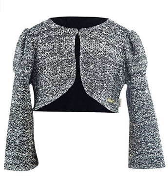 Lilax Little Girls' Shimmer Sequin Bolero Jacket Shrug