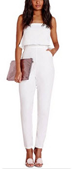GeeWheat Women's Strapless Full Length Bodycon Club Wear Rompers Jumpsuit White