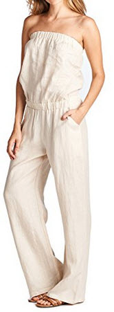 High Style Women's Strapless Full length 100% Linen Jumpsuit