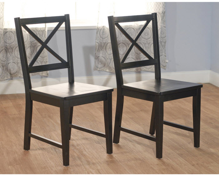 Target Marketing Systems Virginia Crossback Dining Chair, Black Finish, Set of 2