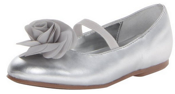 Little girls silver dress shoes b