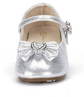 Dream Pairs ANGELS Mary Jane Bow Rhinestone/Pearls Embelishment Throughout Velcro Walker Ballerina Flat