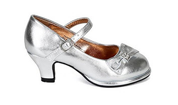 Little Angel CK31 Women Metallic Leatherette Bow Mary Jane Kitty Heel Pump (Toddler/Little Girl /Big Girl) - Silver