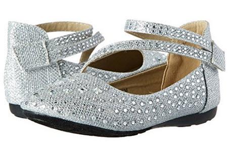 Link Kd-01Km Silver Girls Cute Rhinestone Ballet Ballerina Flats