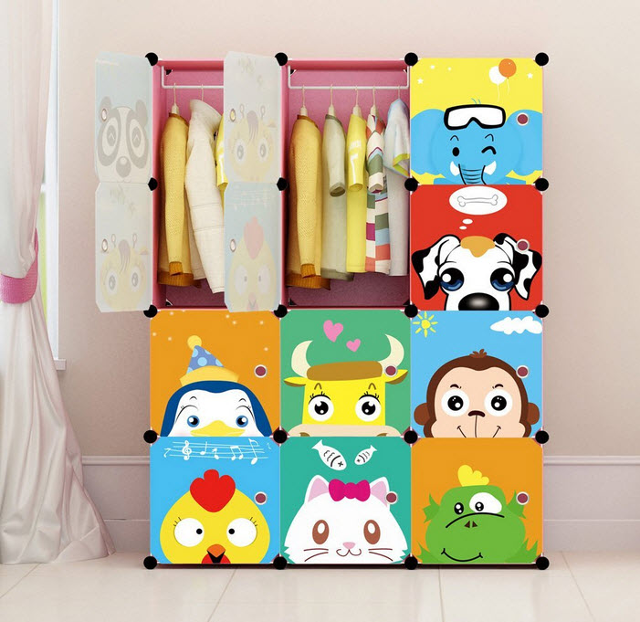 Portable Clothes Closet Wardrobe by Cosyhome-Freestanding Cute Cartoon Storage Organizer with doors for kids , large space and sturdy construction for Children. Pink-12 cube by Cosy Home ™