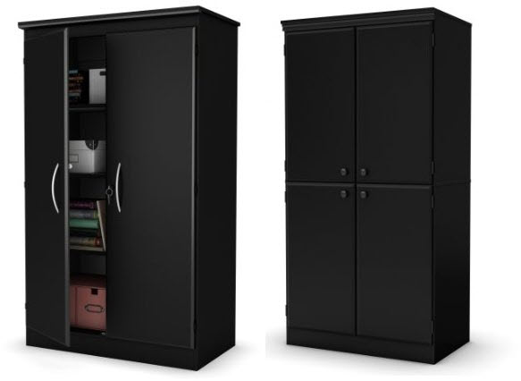 black storage cabinets with doors