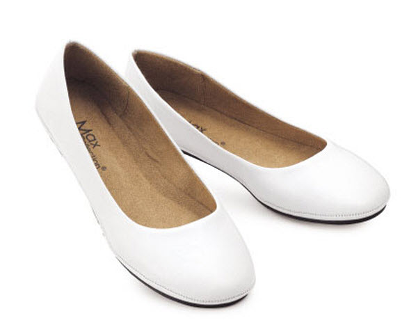 white flat shoes for women